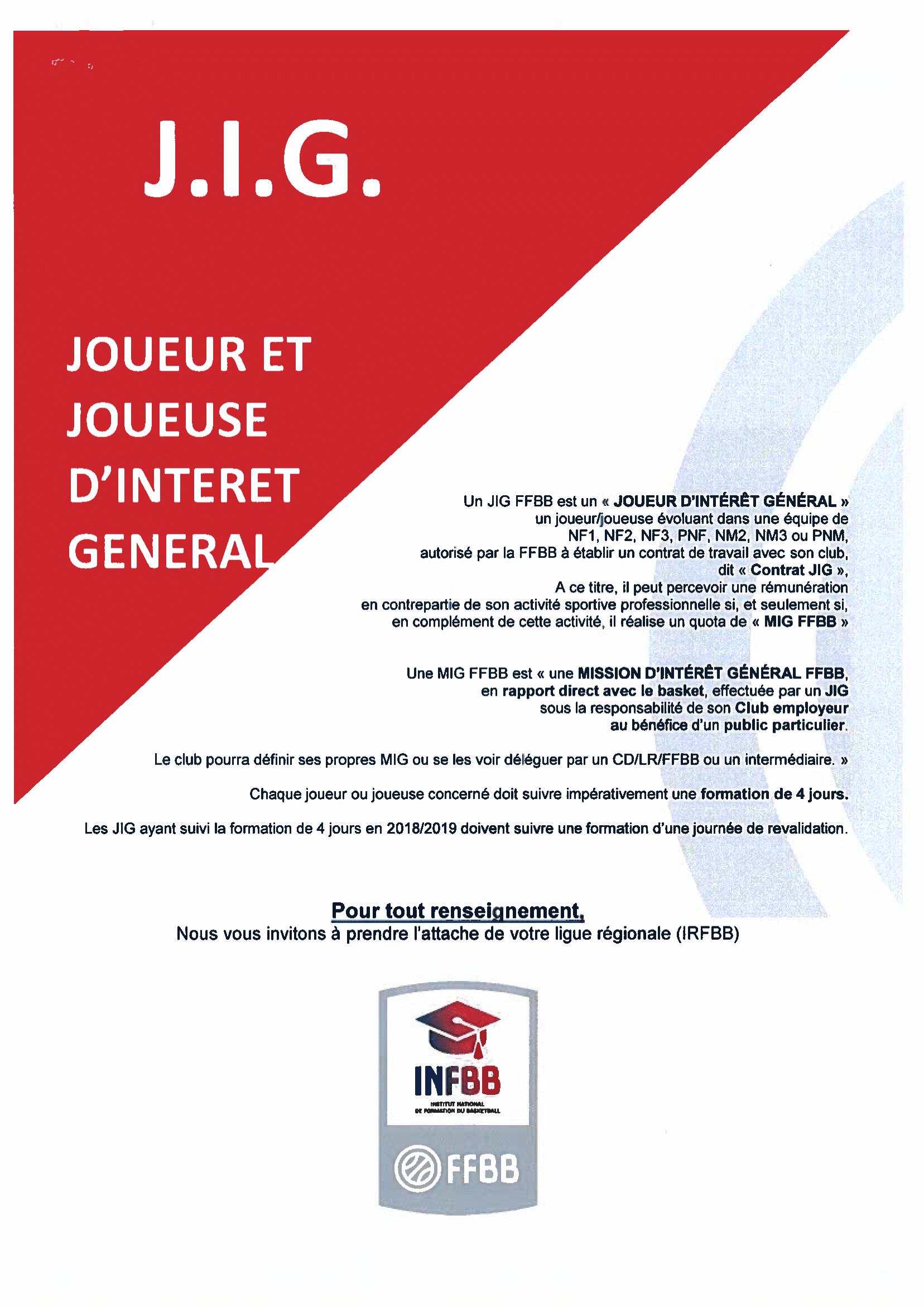 Formation des J.I.G