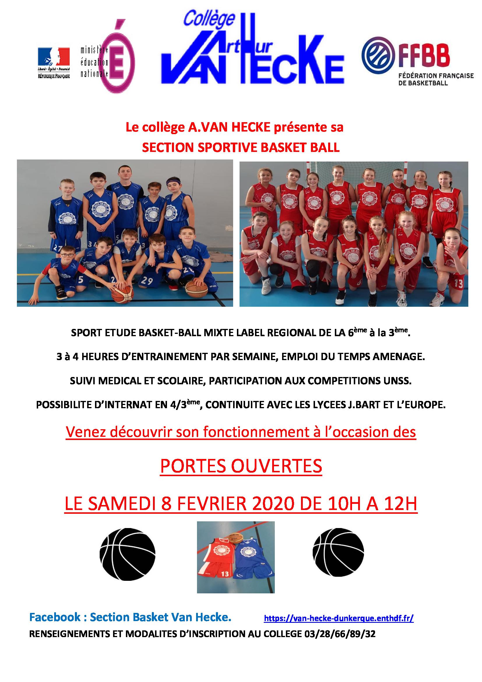 Portes Ouvertes section sportive Basket du Collège Van Hecke