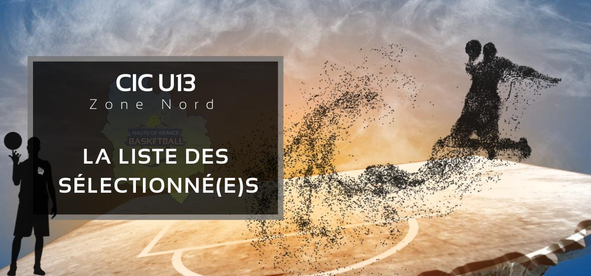 CIC U13, Zone Nord : La liste des sélectionné(e)s.